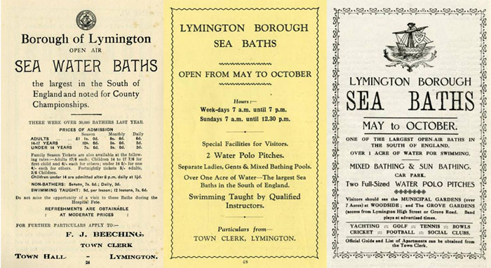 Lymington Sea Water Baths Leaflets